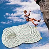 F2C General Purpose 2/5Inch x 151FT Caving Climbing Rope Double Braid Polyester Rope Safety Rope,5940Lbs Breaking Strength, Perfect for Tree Work, Cargo, Sailing, Rigging, Marine, Outdoor Sports