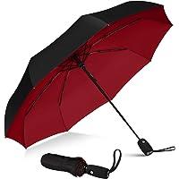 Repel Umbrella Windproof Travel Umbrella with Teflon Coating (Black Red)