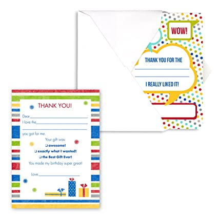 amazon com dots and stripes kids thank you note card pack set of
