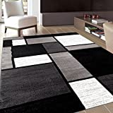 Rug Decor Contemporary Modern Boxes Area Rug, 2' by 3', Grey