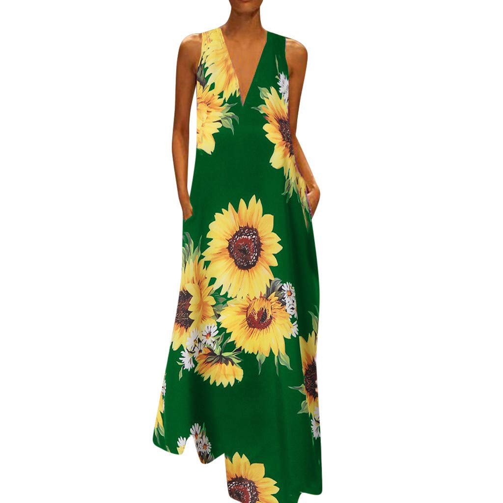 Women Dresses Casual Summer Sleeveless Maxi Dress Sunflowers Print Dress with Pocket YQZB V-Neck Beach Long Dress