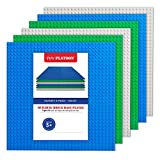 "Building Bricks - 10"" x 10"" Baseplate - Variety Pack (6 Pack) Compatible with all Major Brands"