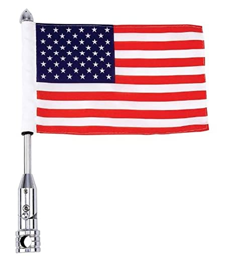 Diamond Plate BKFLAGPL Motorcycle Flagpole Mount and American Flag USA,  13