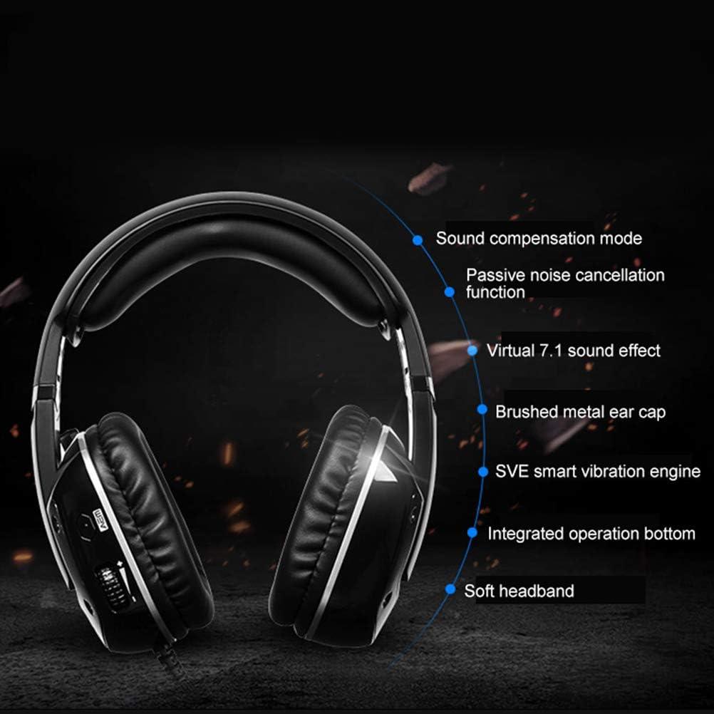 Black 1PC Virtual Surround Sound Headset Breathing USB Gaming Headphone Professional Computer PC Gaming Headset