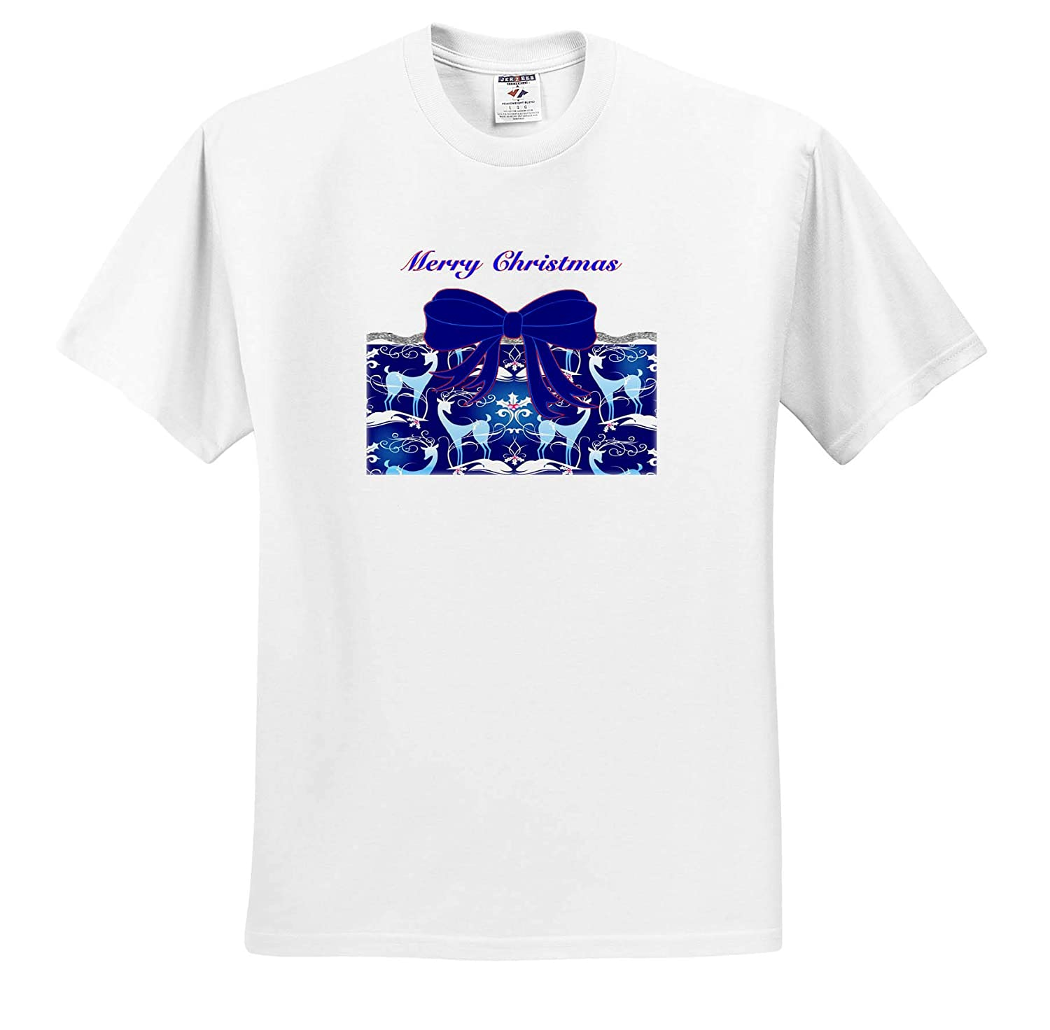 Image of Blue Christmas Bow On Reindeer Pattern Bows and Ribbons T-Shirts 3dRose Lens Art by Florene