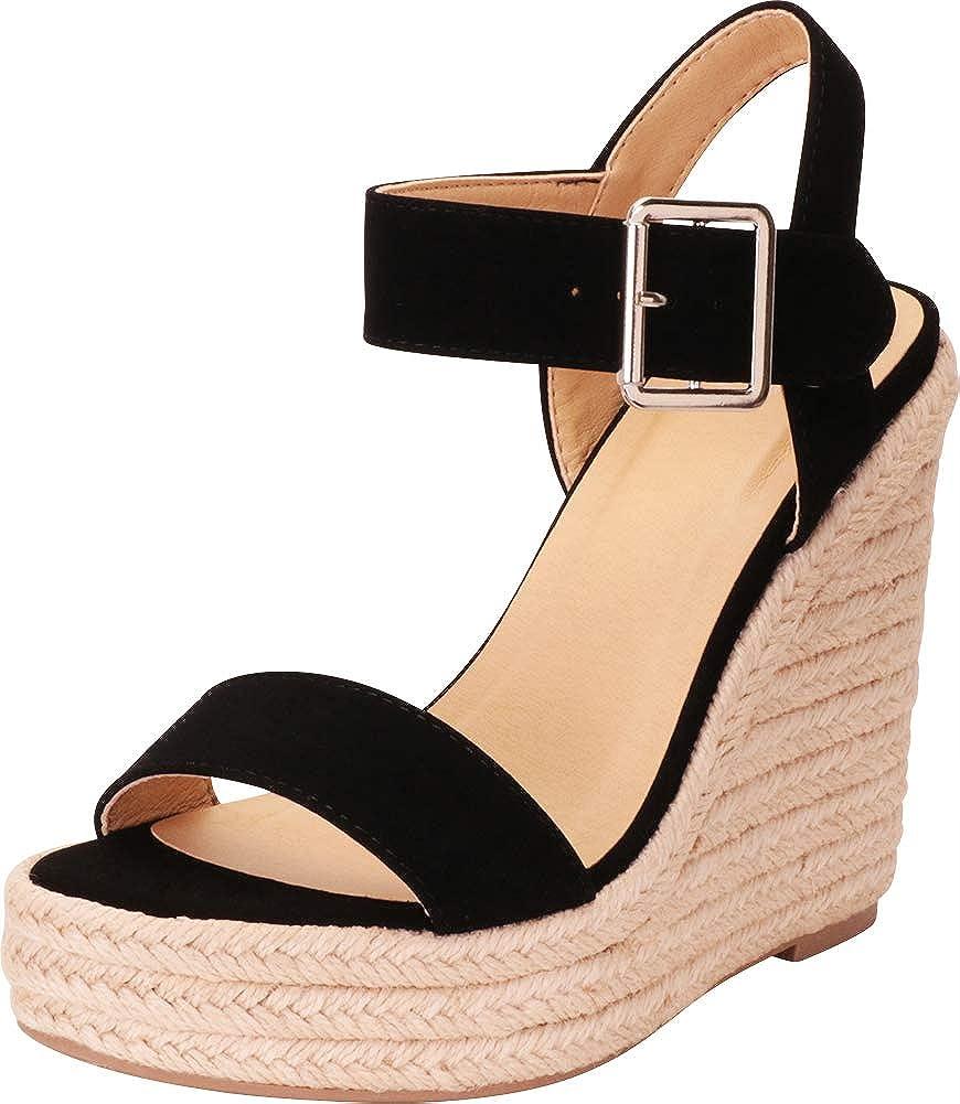 Black Nbpu Cambridge Select Women's Open Toe Buckled Ankle Strap Espadrille Platform Wedge Sandal