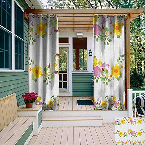 leinuoyi Daffodil, Outdoor Curtain of Lights, Horizontal Leaf and Flower Motifs Laurel Fairy Mother Earth Habitat Gardening Theme, Outdoor Curtain Set for Patio Waterproof W84 x L96 Inch Multi ()