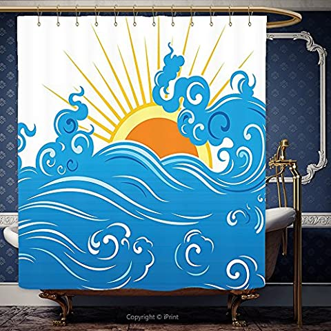 iPrint 66x72 Inch Shower Curtain Abstract Curved Ocean Waves with Sun Rising with Vibrant Sharp Rays Seascape Art Blue Yellow Orange 00273 Polyester Bathroom Accessories Home - Seaside Dreams Panel Bed