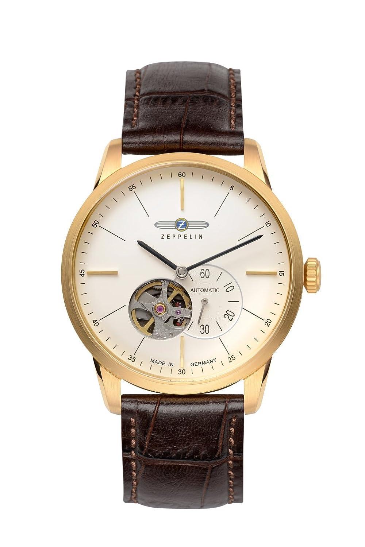 Zeppelin Flatline自動オープンハートMen 's Goldtone Watchブラウンバンド7362 – 1 B017GSJ2KM