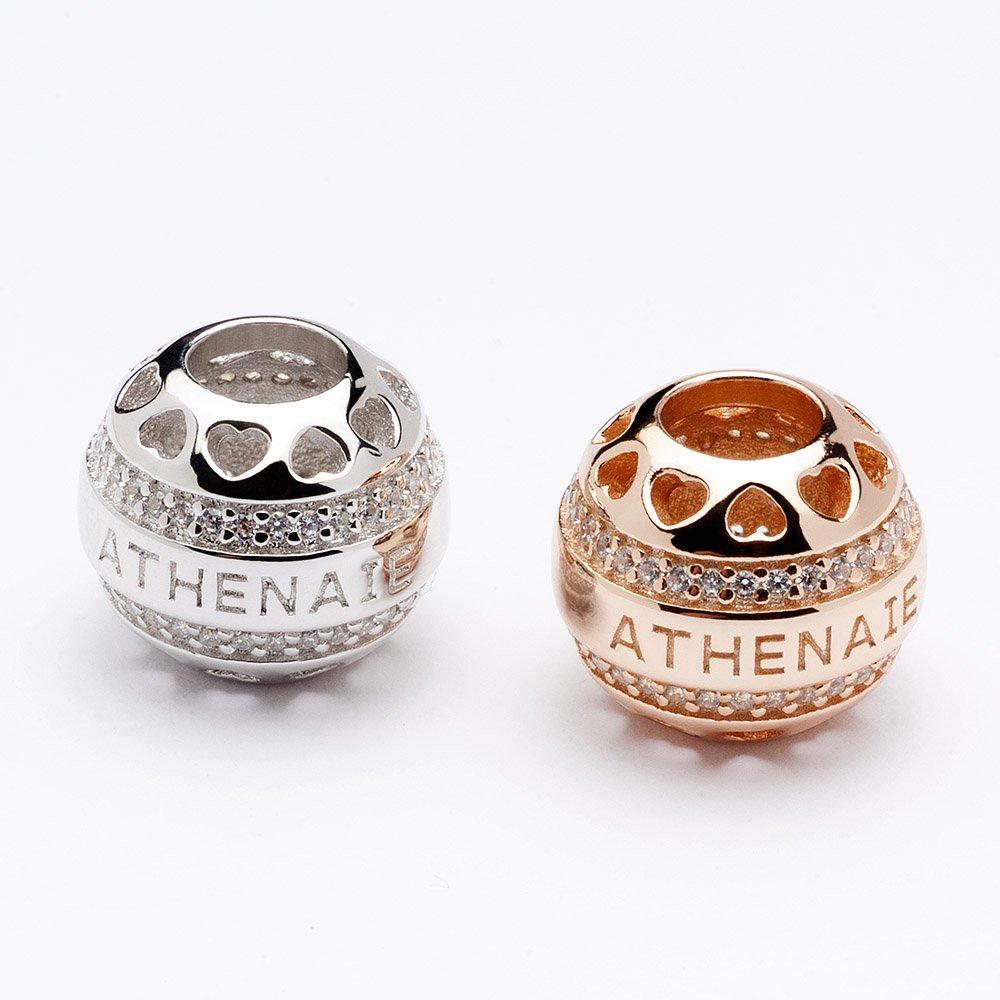 ATHENAIE Argent 925 plaqu/é platine avec Pave Effacer CZ Heart de Charm ajour/é Coeur Fit Tout europ/éenne Collier Bracelets