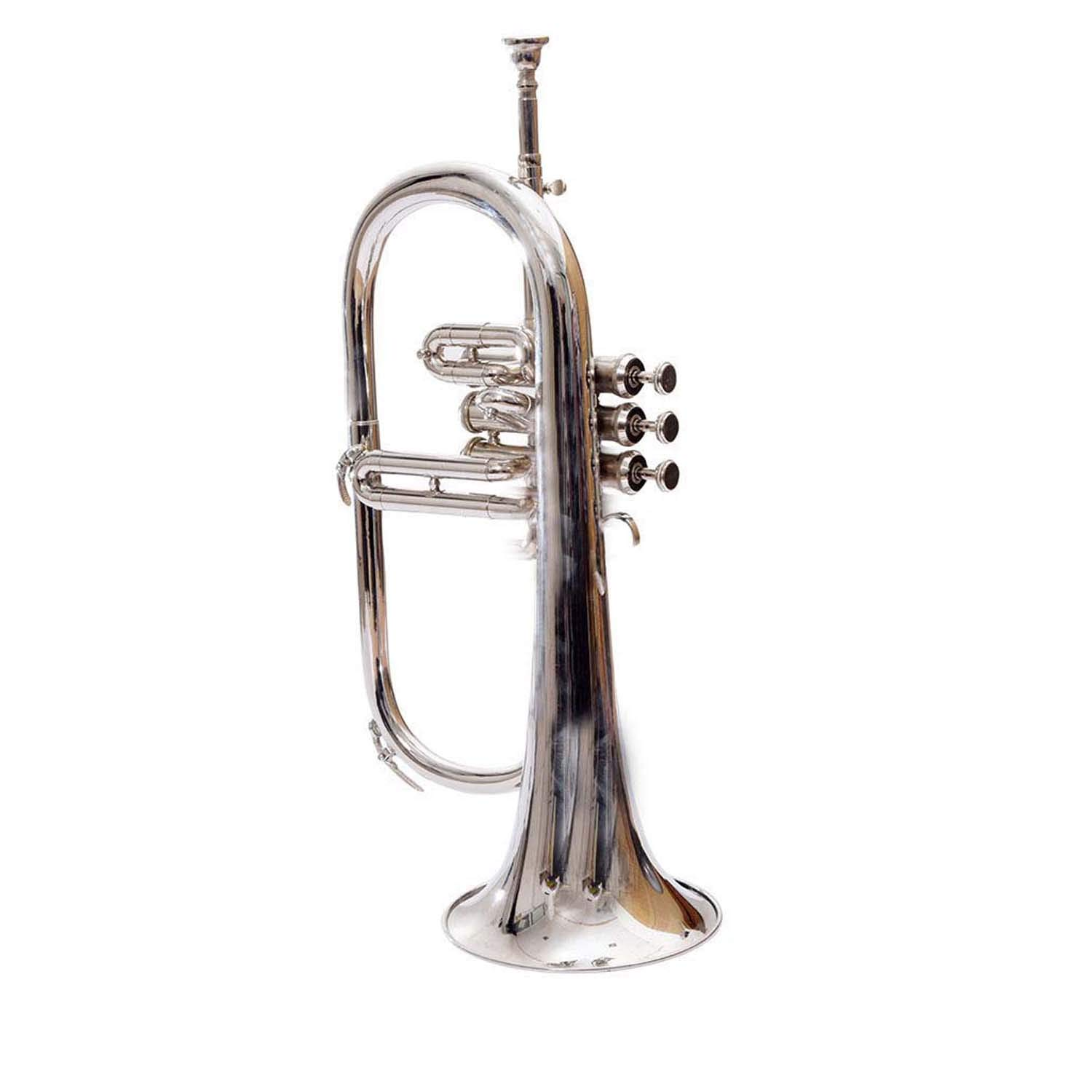 SCEXPORTS Bb Flat Silver Nickel Flugel Horn With Free Hard Case+Mouthpiece by SCEXPORTS