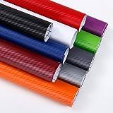 KKmoon 30 * 127cm 3D Voiture Style Fibre de Carbone Autocollants Feuille de Wrap de Véhicule Rouleau de Film Accessoires Automobiles Autocollants Moto Protector Noir