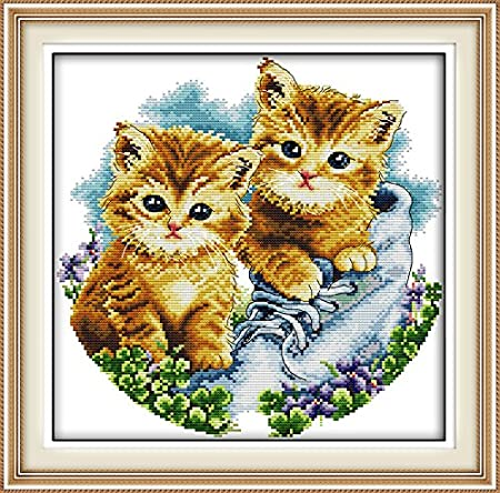 inch Maydear Cross Stitch Kits Stamped Full Range of Embroidery Starter Kits for Beginners DIY 11CT 3 Strands Cat and Flowers 13.8/×15