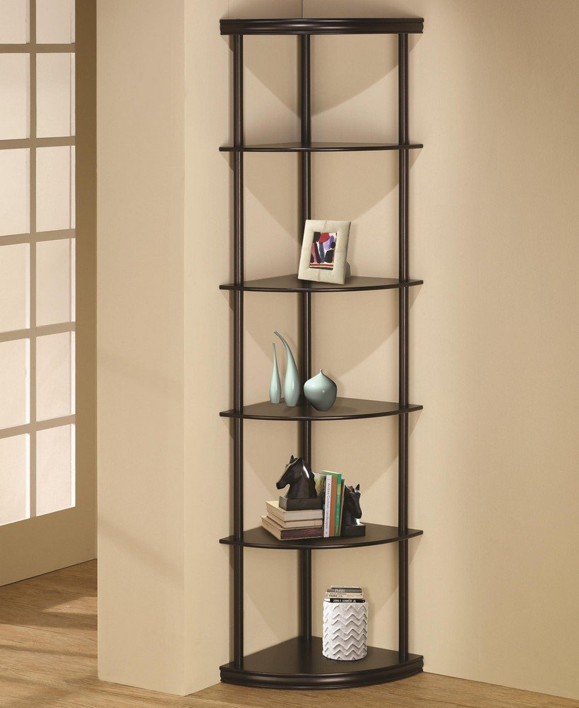 6 tiered pie shaped corner shelf unit in an espresso finish wood . Measures 16'' x 16'' x 72''H. by CST (Image #1)