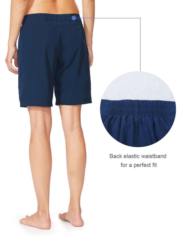 Baleaf Women's 9'' Long Board Short with Built-in Liner (Back Elastic Waistband) Navy Size XL by Baleaf (Image #3)