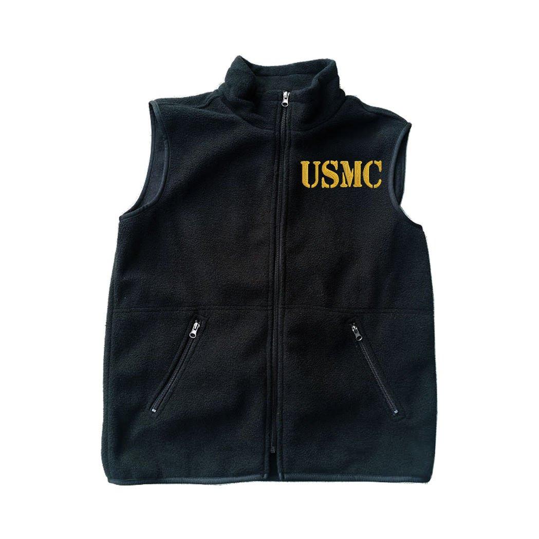 Text USMC U.S Marine Black Fleece Zipped Vest with Pocket