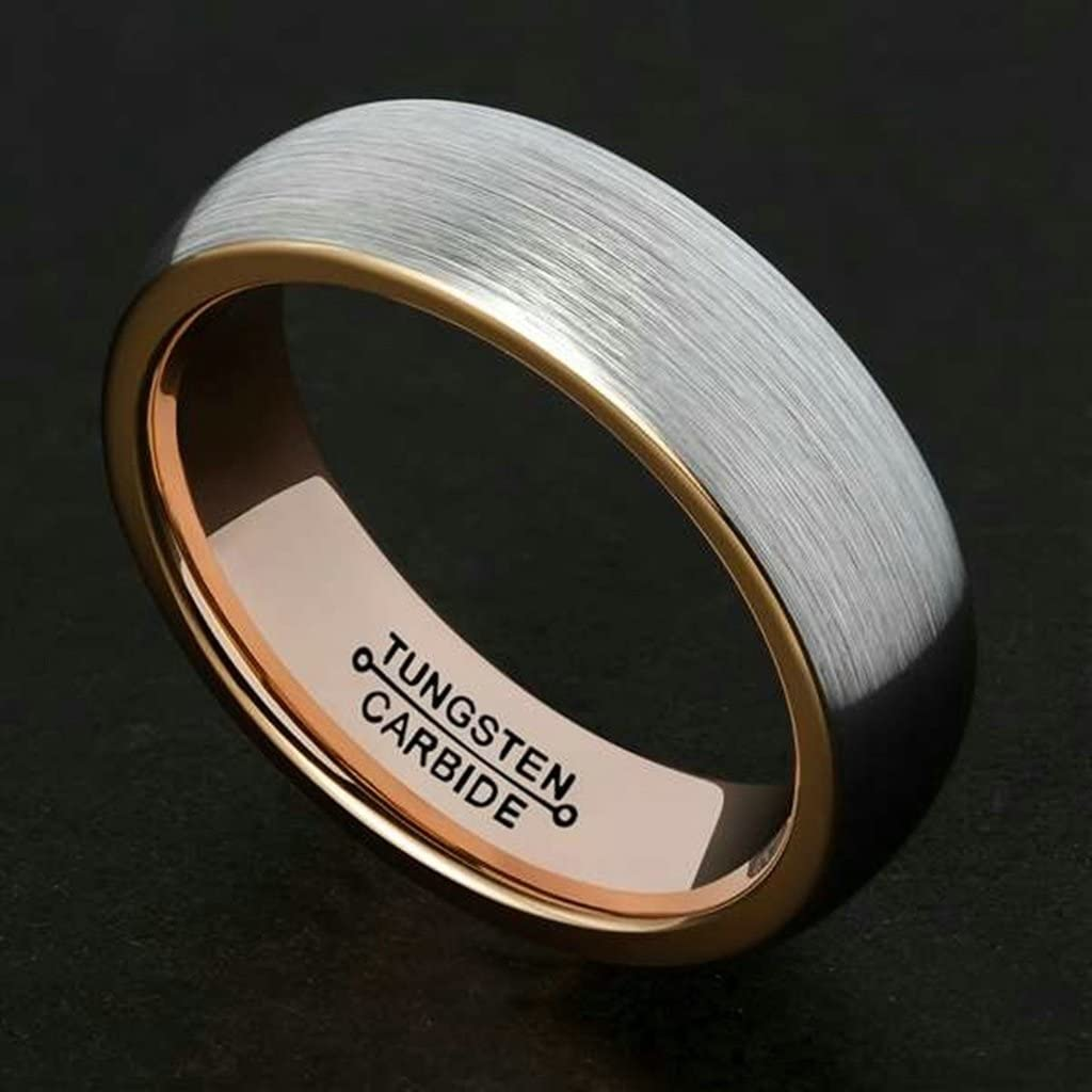 Bishilin Tungsten Silver Brushed Finish Domed Rose Gold Plated Inner 6MM Ring for Men Size 13