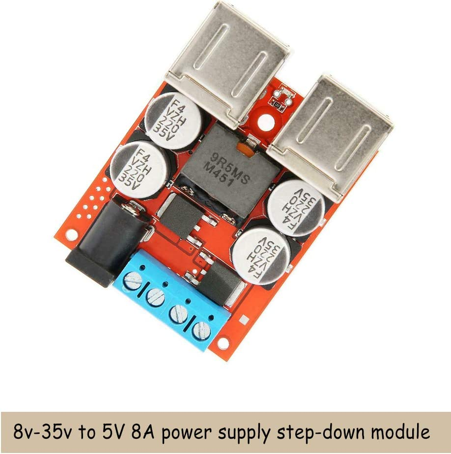Acxico 1Pcs 8V-35V to 5V 8A Step Down Converter Buck Step Down Power Supply Module 4 USB for Phone Charger