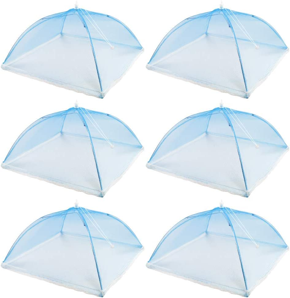 (6 Pack) 17 inches Pop-Up Food Cover Tent, Reusable and Foldable Picnic Food Net Cover, Very Suitable for Outdoor Picnics, Barbecues, Tents to Keep Food Fresh (blue)