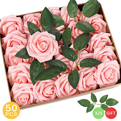 AmyHomie Pack of 50 Real Looking Artificial Roses w/Stem for DIY Wedding Bouquets Centerpieces Arrangements Party Baby Shower Home Decorations, Pink