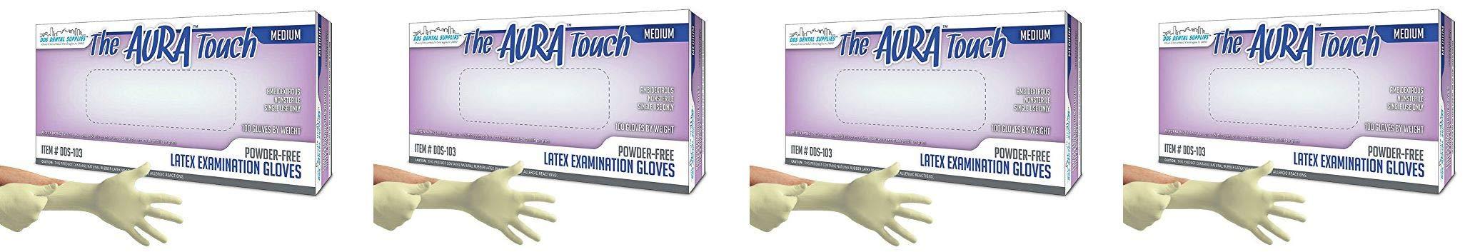 DDS Aura Touch Powder Free Latex Exam Examination Gloves, Natural (Medium) -100/bx (4-(Pack))