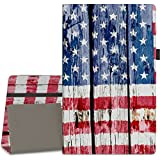 "Vori Case for All-New Amazon Fire HD 10 Tablet (7th Generation, 2017 Release) - Premium PU Leather Slim Fit Smart Stand Cover with Auto Wake/Sleep for Fire HD 10.1"" Tablet, American Flag"