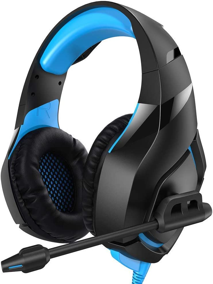 Stereo Gaming Headset Compatible with PC PS4 Xbox One Controller Nintendo,Over Ear Headphones with Noise Canceling Microphone,Soft Memory Earmuffs for Laptop Mac – Blue