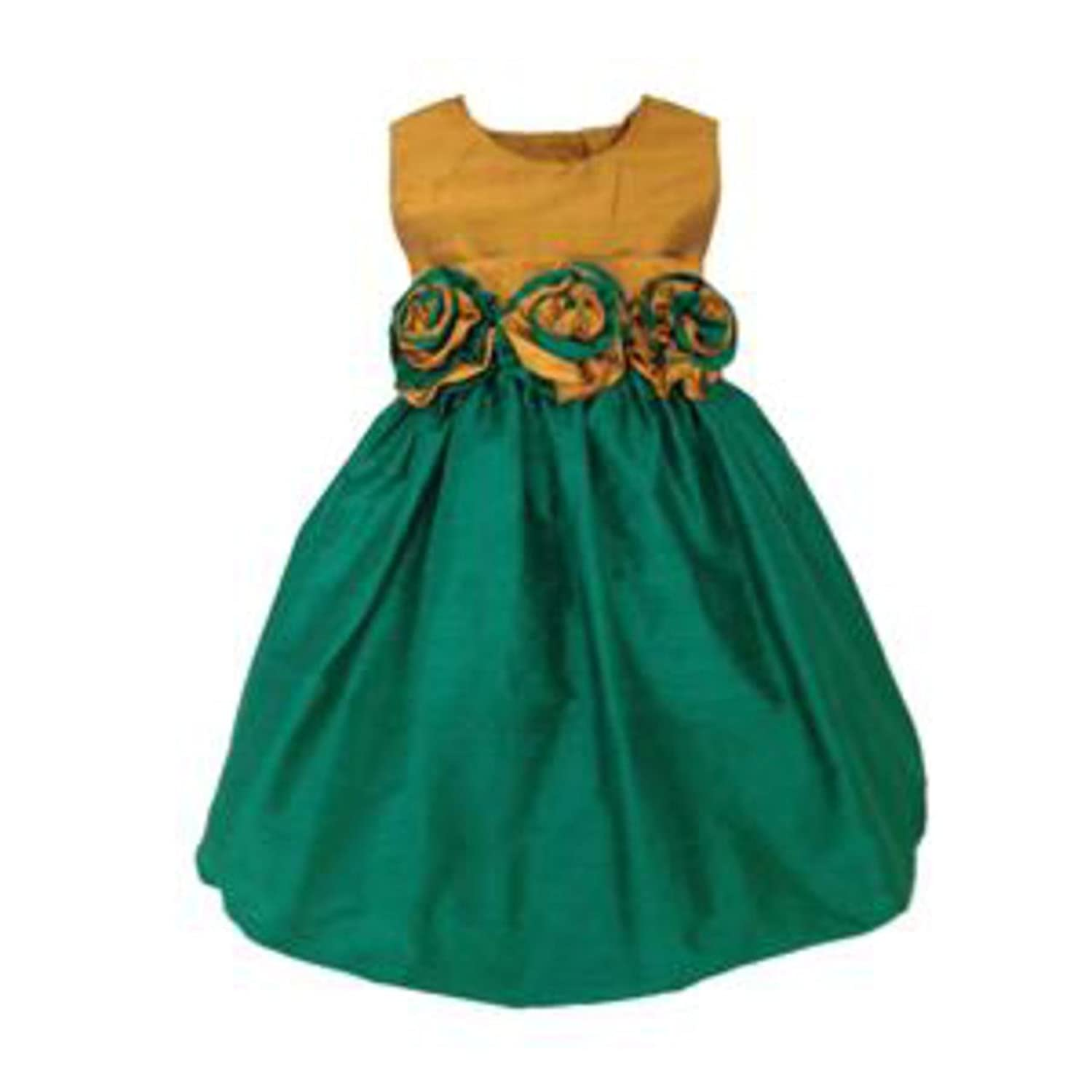 Amazon.com: Aby\'s Kids Girls Silk Gold Top and Emerald Skirt with ...