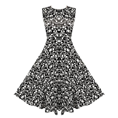 yisqzjzj Seasonal Womens Floral Sleeveless Party Cocktail Dress Q001-5Large