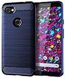 Google Pixel 3a XL Case, Pixel XL 3a Case,UCC Frosted Shield Luxury Slim TPU Bumper Cover Carbon Fiber Design and Anti-Scratch and Non-Slip Case Cover for Google Pixel 3a XL Phone(Blue)