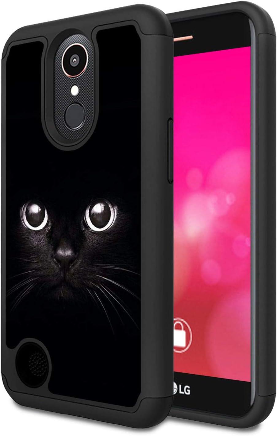 LG K20 V/K20 Plus/K10 2017/Harmony/V5 Case,Rossy Heavy Duty Hybrid TPU Plastic Dual Layer Armor Defender Protection Case Cover for LG K10 2017,Black Cat Face Eyes