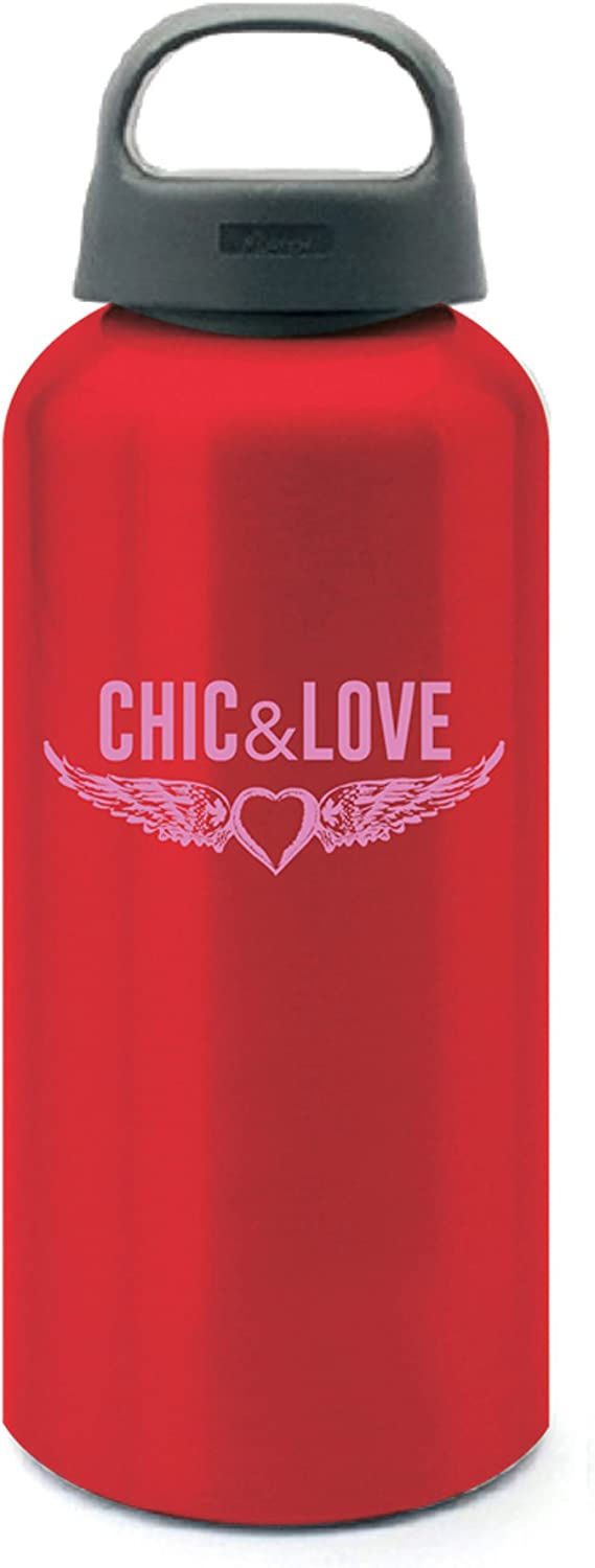 Chic & Love 16751 - Botella de agua de aluminio, 450 ml, color rojo