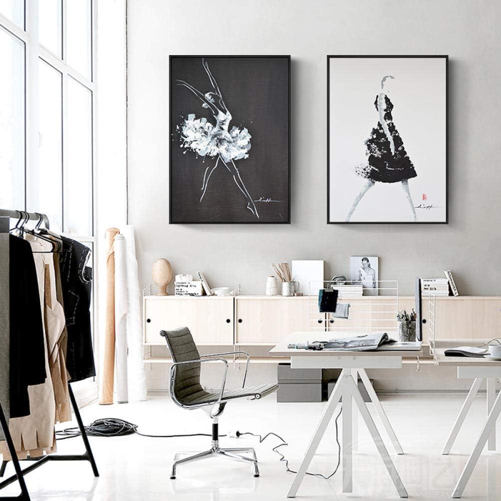 XLXZZ Cuadro en Lienzo Negro Blanco Bailarines Abstractos Figuras Carteles e Impresiones Arte de la Pared Imagen Sala de Estar Decoración-50x70cmx2 Piezas sin Marco