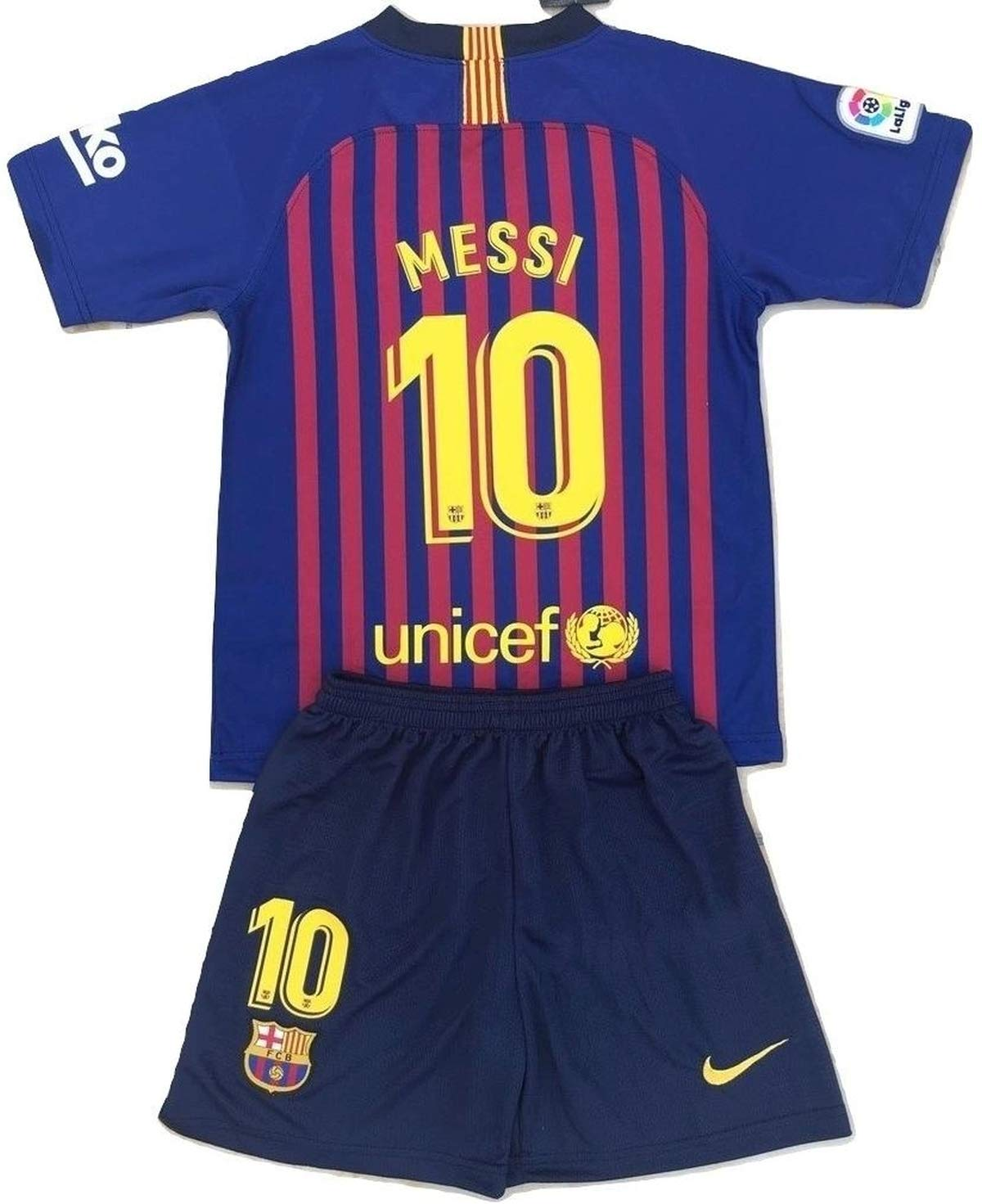 Messi #10 FC Barcelona 2018-2019 Youths/Kids Home Soccer Jersey & Shorts (9-10 Years Old) by MTG-Jersey (Image #1)