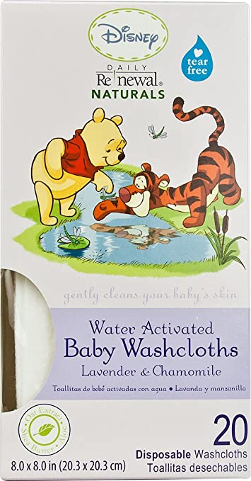 Amazon.com : Disney Baby WINNIE THE POOH Daily Renewal Naturals® Baby Washcloths Lavender and Chamomile, One 20-ct Box : Baby Washcloth Disposable : Baby