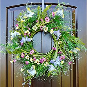 "Summer Butterfly and Wildflower Wreath with Green Grass in 22"" Diameter for Front Door Decoration 45"