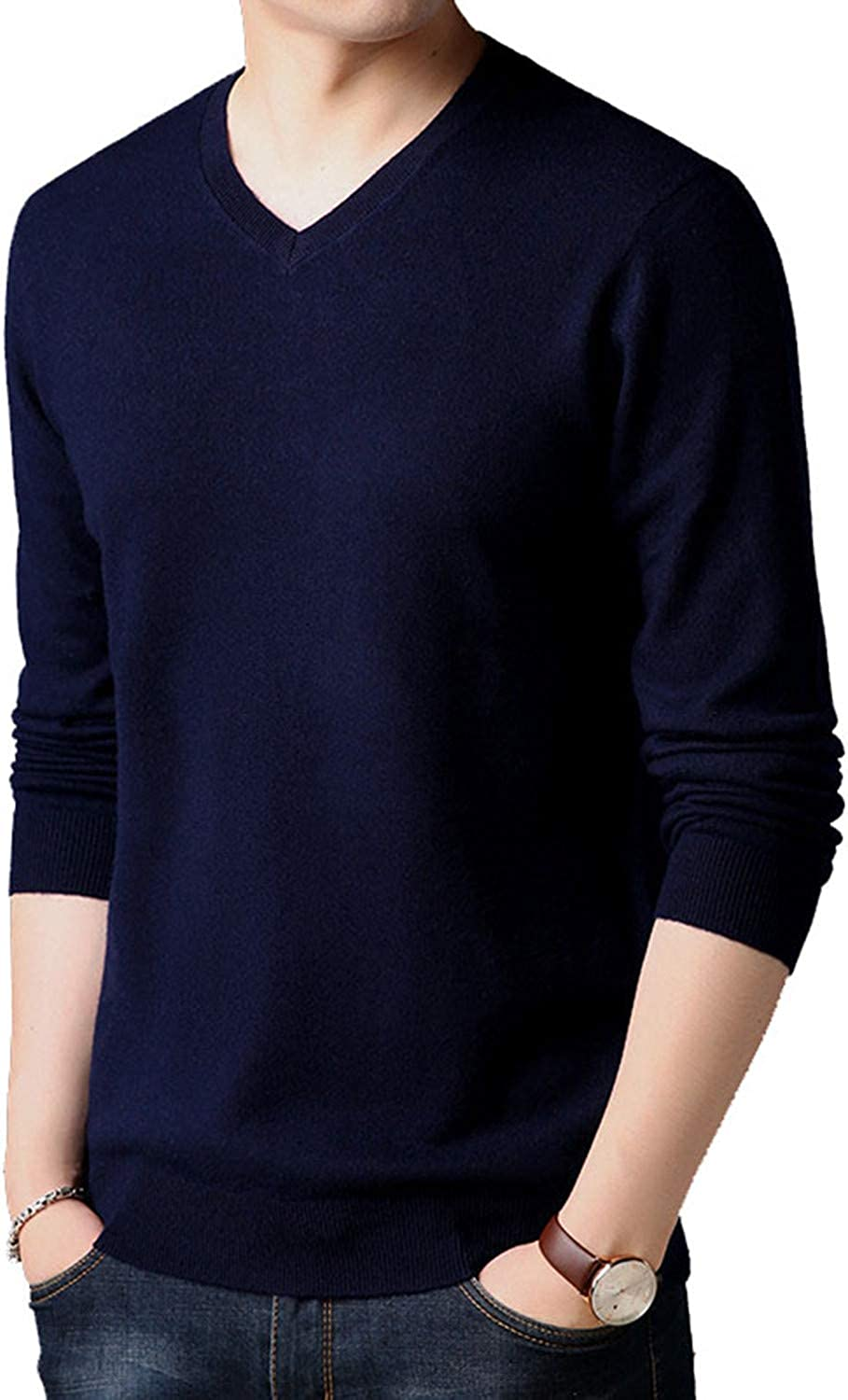 Cyose Popular Classic Pure Color V-Neck Cashmere PulloverThick Warm Wool Sweaters 03