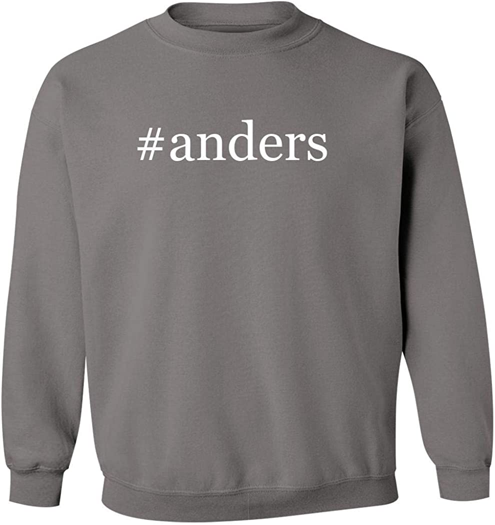#Anders - Men'S Hashtag Pullover Crewneck Sweatshirt, Grey, Medium