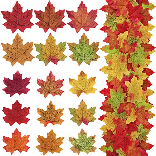 Supla 375 Pcs 2 Sizes 9 Colors Silk Artificial Autumn Maple Leaves Fake Fall Leaves Bulk Fall Foliage for Thanksgiving Table Decorations Fall Wedding Party Birthday Baby Shower