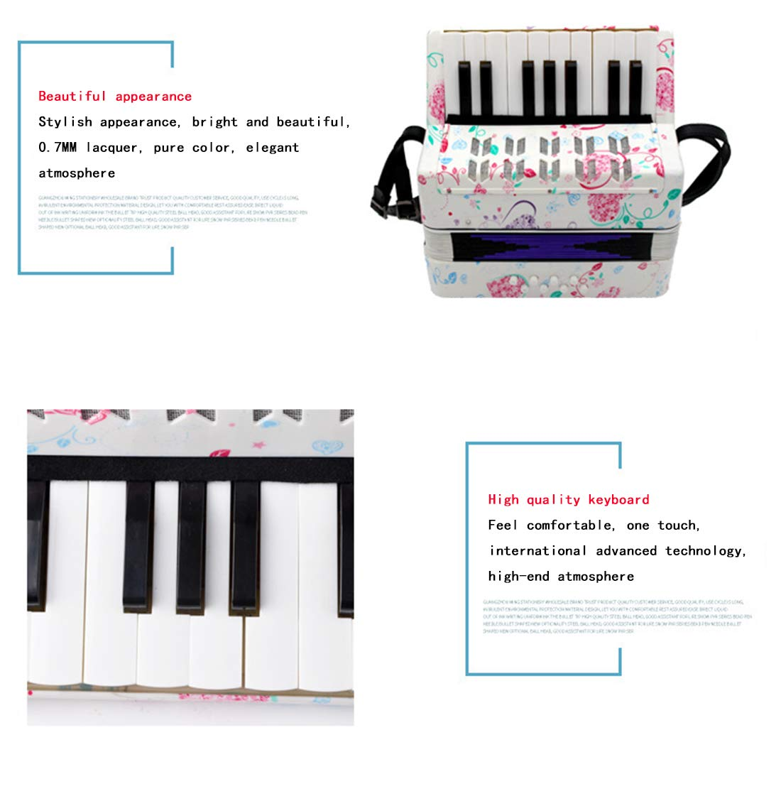 SFQNPA Heart-Shaped Children's Amateur Beginner Mini 17-Key 8 Bass Accordion Educational Instrument Toy Kids Piano Percussion Accordion Musical Toy,Green by SFQNPA (Image #4)