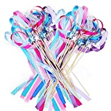 Ribbon Wands Halloween Mix Color Chromatic Silk Ribbon with Bells Fairy Stick Wish Wands for Wedding Party Activities(Pack of 20)