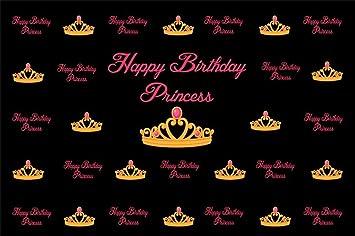 Cassisy 2,2x1,5m Vinilo Cumpleaños Telon de Fondo Feliz cumpleaños Princesa Bandera Palabras Rosadas Corona Fondos para Fotografia Party bebé Infantil ...