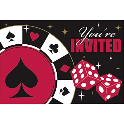 8 Tarjetas De Invitación Con Sobre Fiesta Temática Casino