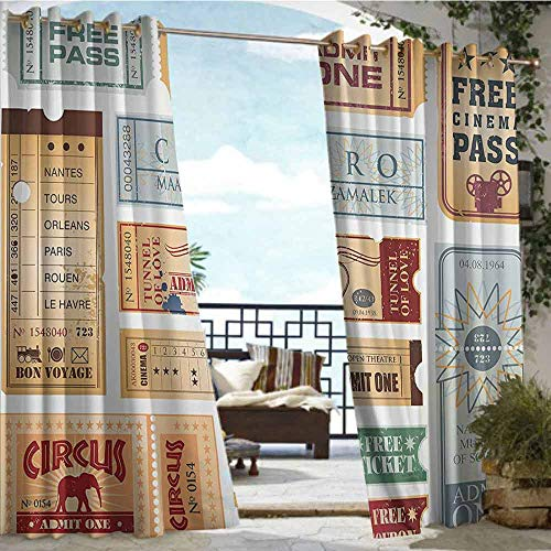 (Outdoor Balcony Privacy Curtain Vintage,Various Tickets Collection Circus Cinema Museum Festival Old Concept,Baby Blue Light Brown Red,W96