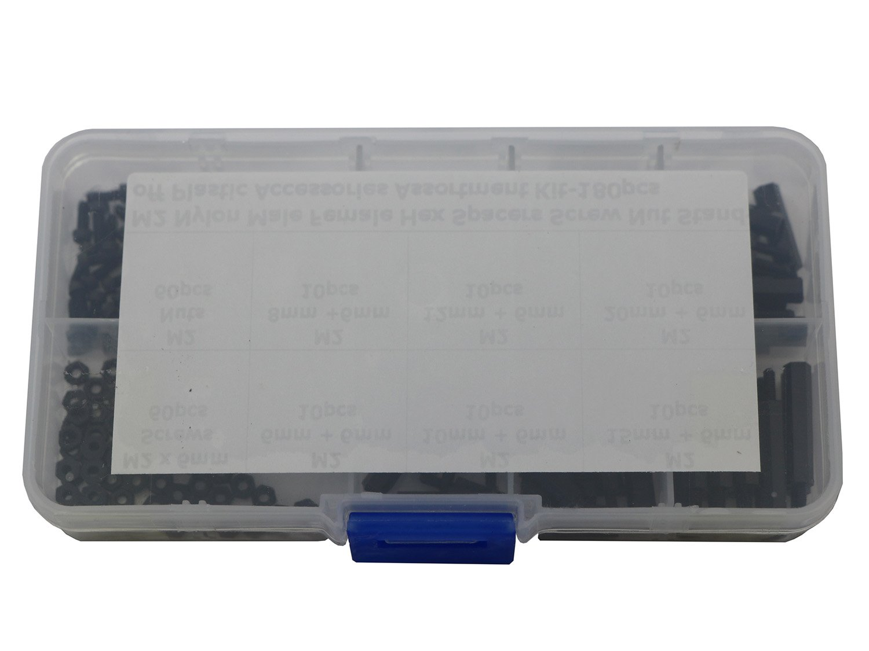 180 Pcs M2 Nylon Hex Nuts Screws Spacers Standoff Plastic Accessories Assortment Kit,Black