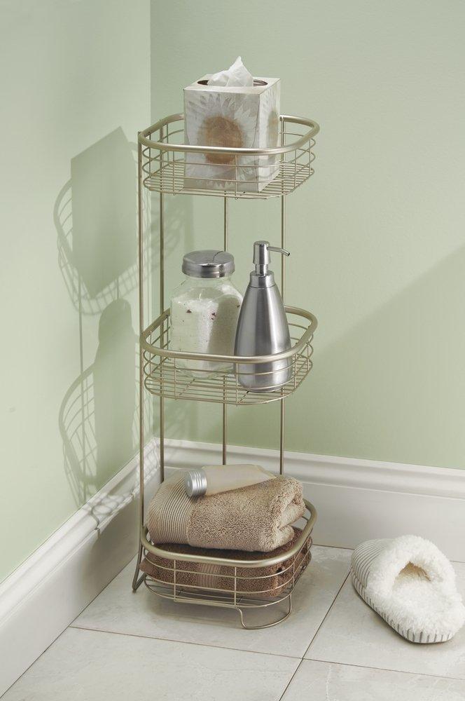 mDesign Estantería de baño - Mueble esquinero para la ducha de metal resistente con 3 baldas - Estante de baño para lociones, toallas de mano, jabón, etc.