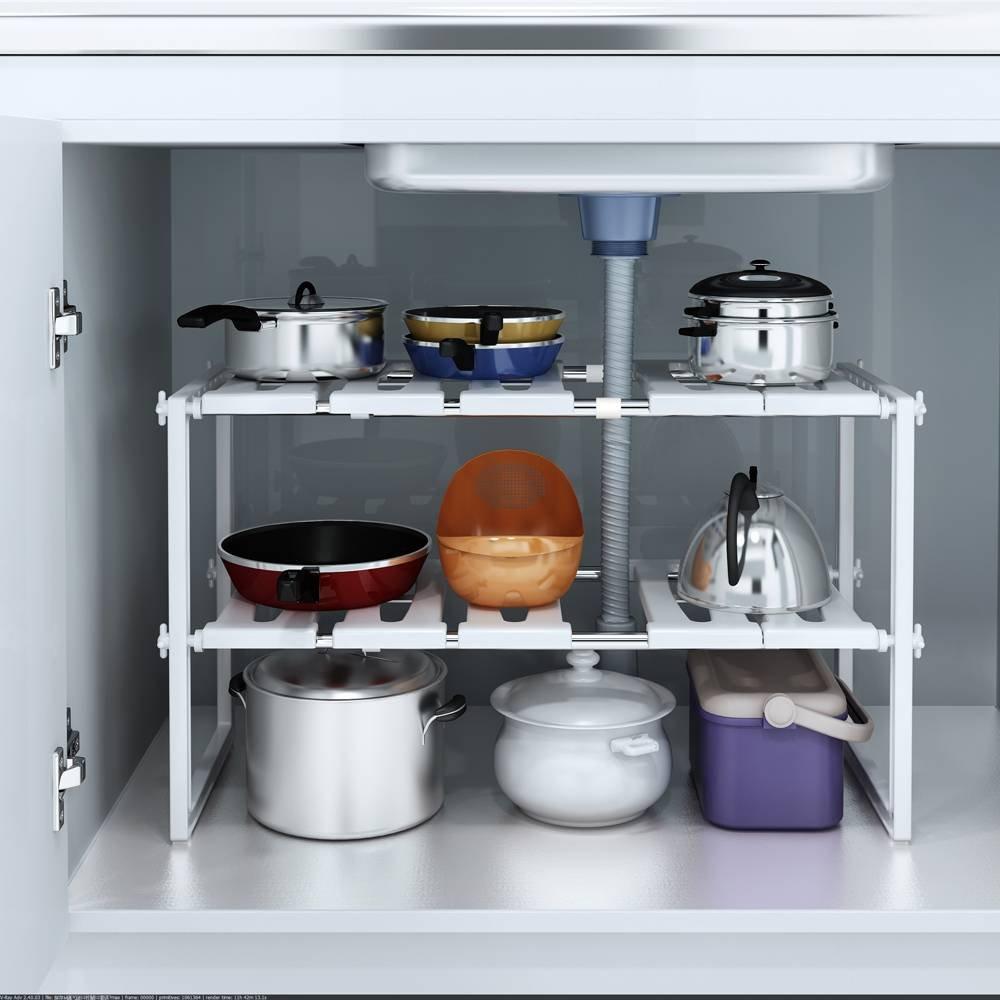 2 Tiers Kitchen Storage Multi-functional Kitchen Sink Rack Adjustable Under Sink Shelf Organizer Stainless Steel Storage Shelf Cabinet