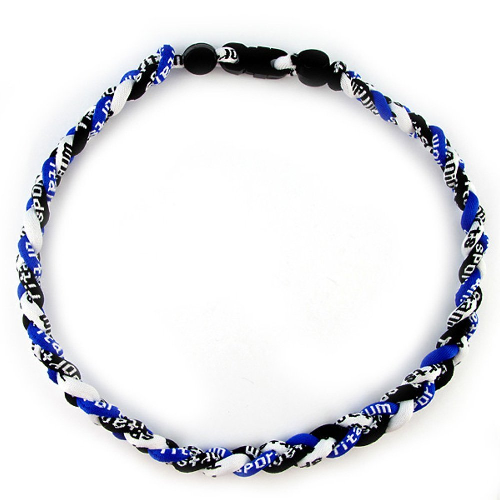 MapofBeauty, collana Tornado alla moda con 3 corde intrecciate, stile sportivo, tre colori, 45,7 cm, donna unisex ragazza Ragazzi Uomo, Azure Blue/ Black/ White