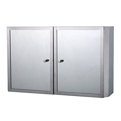 Homcom Stainless Steel Cabinet Mirrored Double Doors Wall Mounted Shelves Furniture