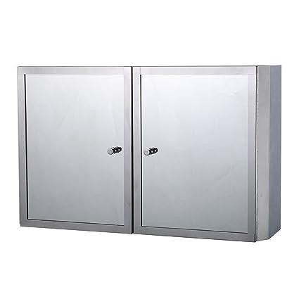 HomCom 20u201d X 12u201d Stainless Steel Double Door Bathroom Mirror / Medicine Wall  Cabinet